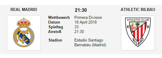 Wett Tipp Real Madrid Athletic Bilbao