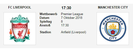 Wett Tipp Liverpool Man City 07 10 18