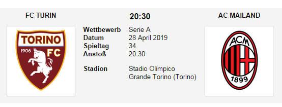 Wett Tipp FC Torino AC Milan 28 04 19