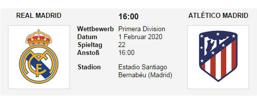 Wett Tipp Real Madrid Atletico Madrid 01 02 20